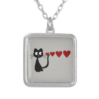 Kitty Sees Love II Square Pendant Necklace