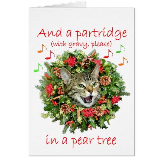 "Kitty sings ""Twelve days of Christmas"" Card"