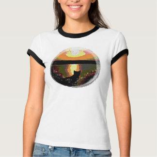 Kitty sunset in a globe art ladies Tee shirt