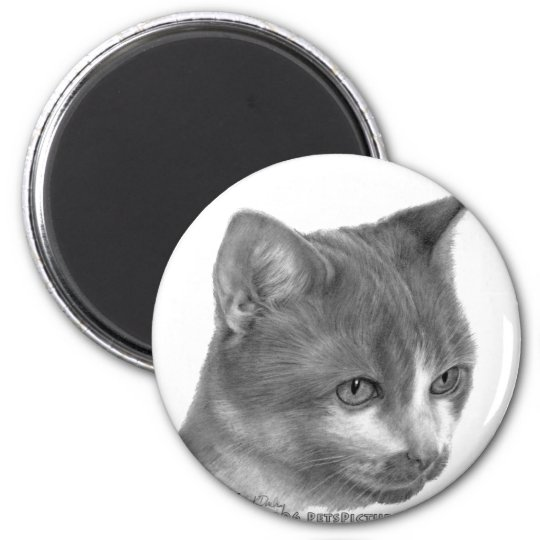 Kitty, Tabby Cat 6 Cm Round Magnet