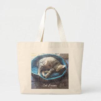 Kitty Takes a Nap, Tabby Tiger Cat Sleeping Jumbo Tote Bag