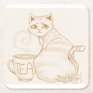 Kitty Tea Break Square Paper Coaster