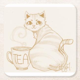 Kitty Tea Break Square Paper Coaster