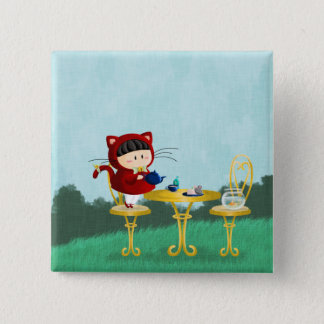 Kitty Tea Party 15 Cm Square Badge
