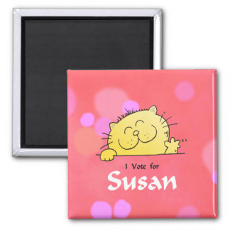 Kitty Vote for Susan Fun Gift Square Magnet