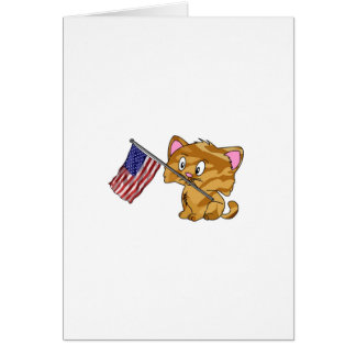 Kitty with Flag Greeting Cards