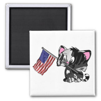 Kitty with Flag Fridge Magnets
