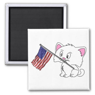 Kitty with Flag Refrigerator Magnets