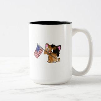 Kitty with Flag Two-Tone Mug