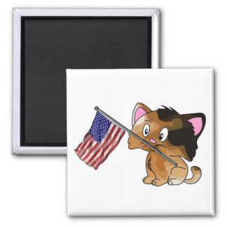 Kitty with Flag Square Magnet
