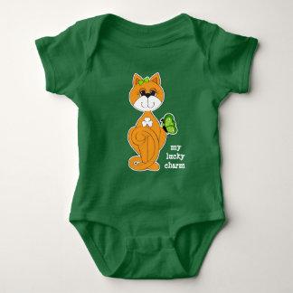 Kitty with Shamrock St.Patrick's Day Baby Bodysuit