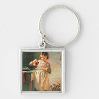 Kitty's Breakfast Silver-Colored Square Key Ring