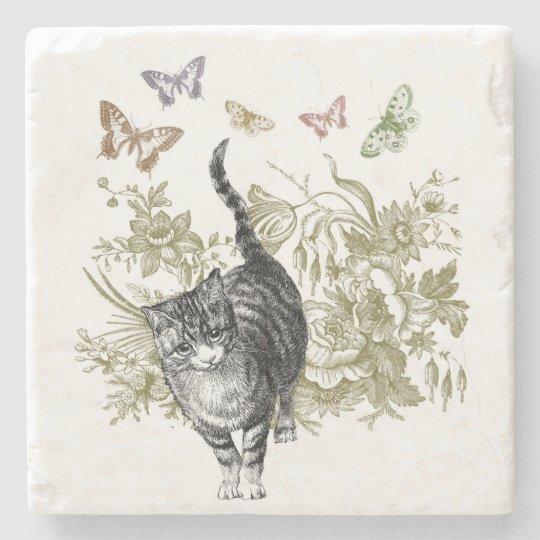 Kitty's Garden Stone Beverage Coaster