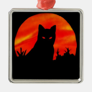 Kitty's Harvest Moon Silver-Colored Square Decoration