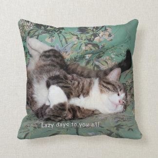 Kitty's Lazy Days Throw Pillow