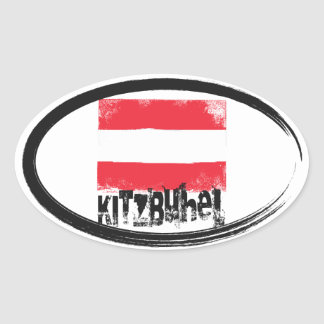 Kitzbühel Grunge Flag Oval Sticker
