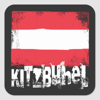 Kitzbühel Grunge Flag Square Sticker