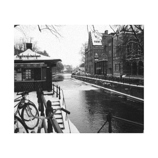KIW Sparks: L Winter at the Riverside BW Stretched Canvas Print