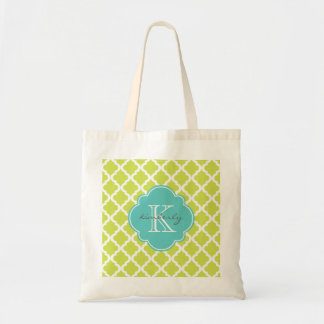 Kiwi and Light Aqua Moroccan Quatrefoil Monogam Tote Bag