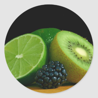 Kiwi and lime classic round sticker