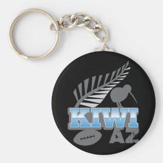 KIWI AZ rugby bird and silver fern New Zealand Basic Round Button Key Ring