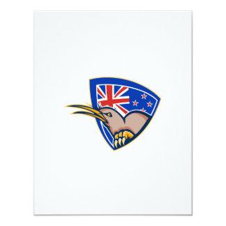 Kiwi Bird New Zealand Flag Shield Retro Custom Announcements