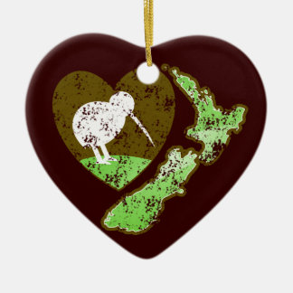 Kiwi bird NEW ZEALAND with a love heart Ceramic Heart Decoration