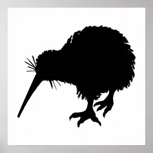 Kiwi Bird Silhouette Posters