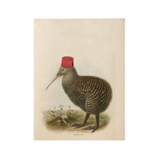 Kiwi Bird Wearing Fez Absurd Vintage Wood Poster