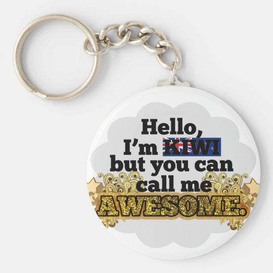 Kiwi, but call me Awesome Basic Round Button Key Ring