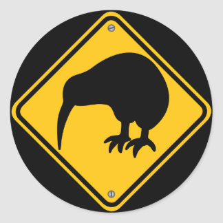 Kiwi Crossing Round Sticker