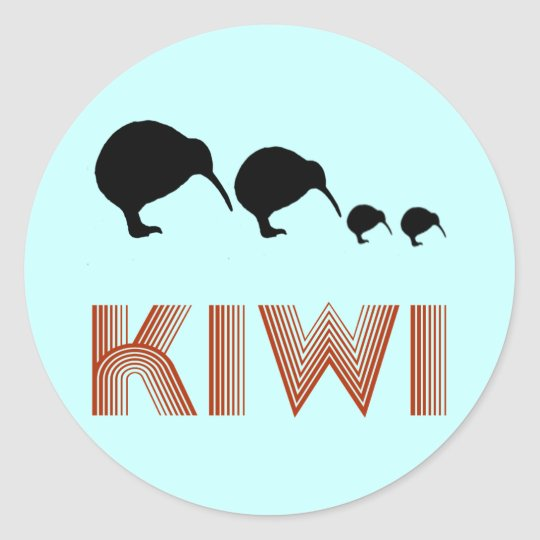 Kiwi Family Retro New Zealand Sticker