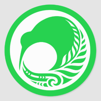 Kiwi Fern Disc Classic Round Sticker