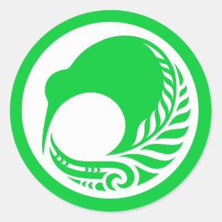 Kiwi Fern Disc Round Sticker