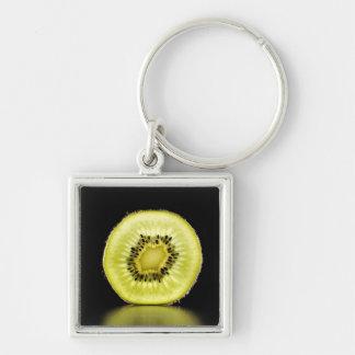 Kiwi,Fruit,Black background Key Ring