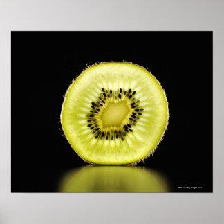 Kiwi,Fruit,Black background Poster