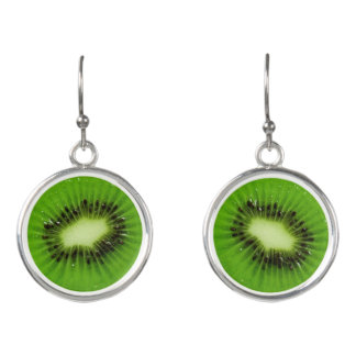 Kiwi Fruit Fresh Slice - Drop Earrings