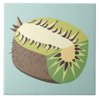 Kiwi fruit illustration large square tile