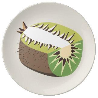 Kiwi fruit illustration plate