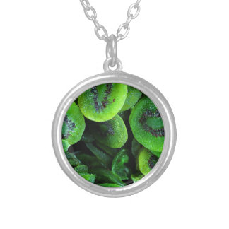 Kiwi Fruit Silver Plated Necklace