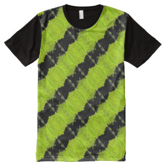 Kiwi Green And Black Pattern All-Over Print T-Shirt