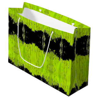 Kiwi Green And Black Pattern Large Gift Bag