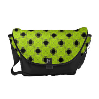 Kiwi Green And Black Vintage Pattern Messenger Bags