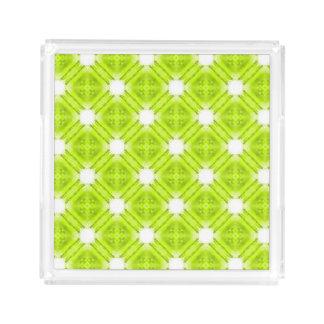 Kiwi Green And White Geometric Acrylic Tray
