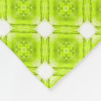 Kiwi Green And White Geometric Fleece Blanket