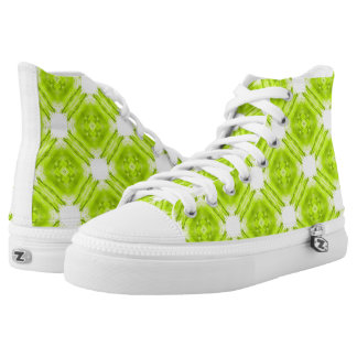 Kiwi Green And White Geometric High Tops