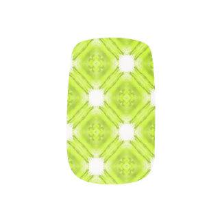 Kiwi Green And White Geometric Minx Nail Art