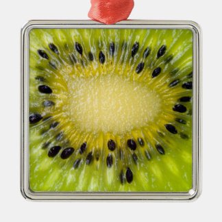 Kiwi Green Fruit w Seeds Sliced Closeup Background Silver-Colored Square Decoration