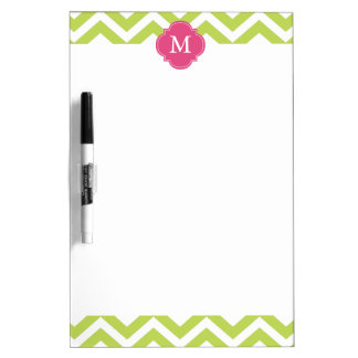 Kiwi Green & Fuschia Zigzags Pattern Monogram Dry Erase Board