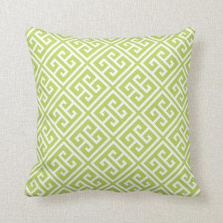 Kiwi Green Greek Key Pattern Throw Pillow